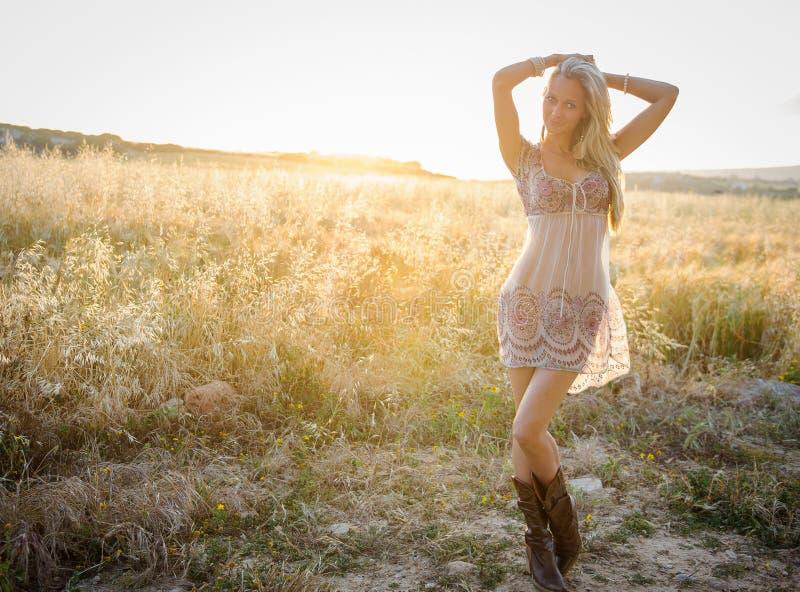 Uma mulher bonita no campo dourado 3 do feno foto de stock