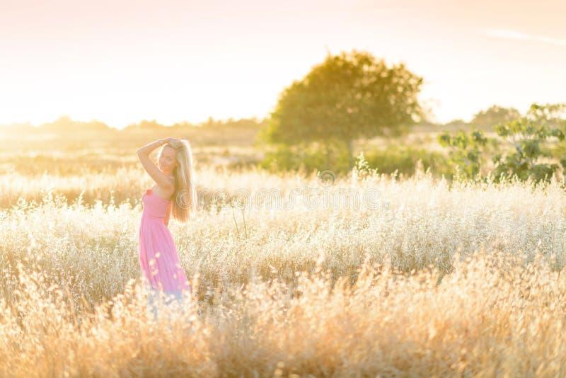 Uma mulher bonita no campo dourado 6 do feno imagens de stock