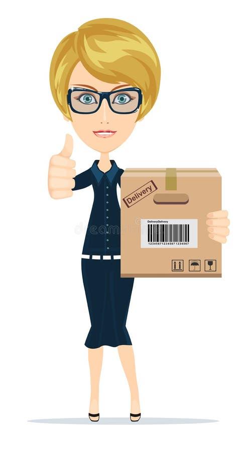 Uma mulher caucasiano bonita nova que guarda uma caixa em suas mãos ilustração do vetor