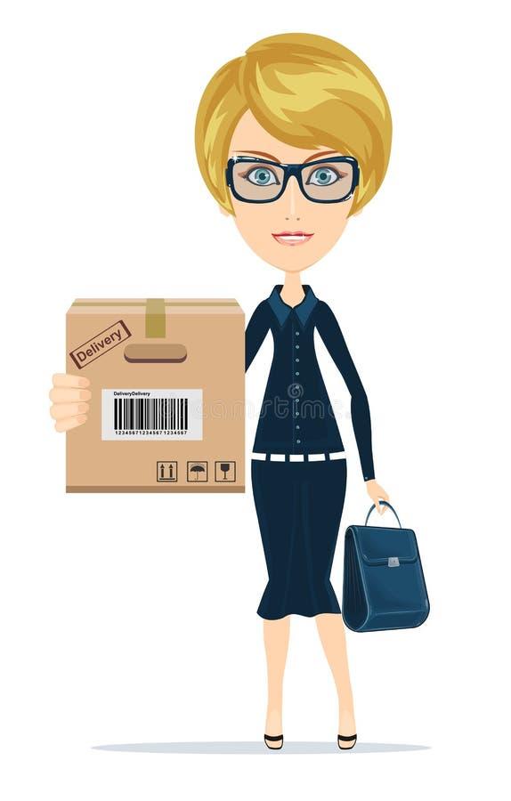Uma mulher caucasiano bonita nova que guarda uma caixa em suas mãos ilustração stock