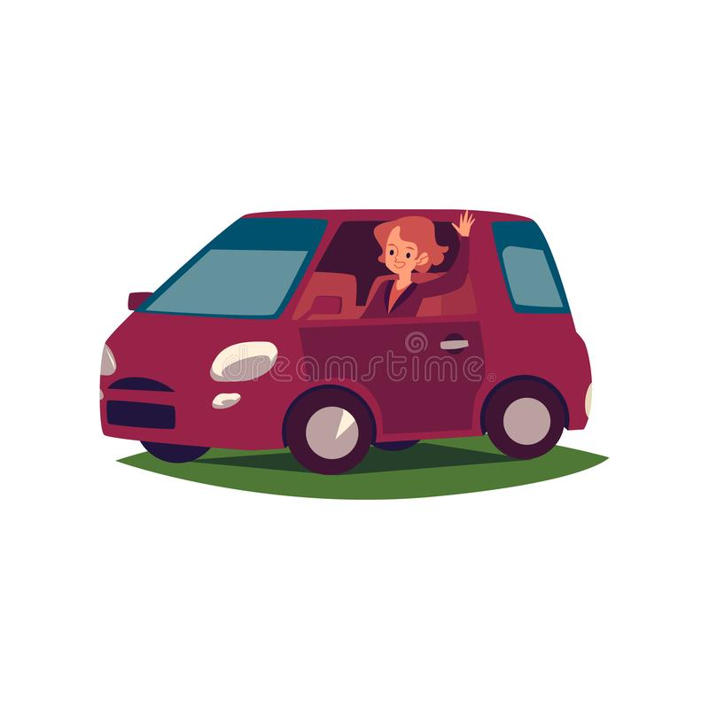 Uma mulher caucasiano nova ou os sorrisos do motorista da menina, acenam sua mão e conduzem um carro ilustração stock