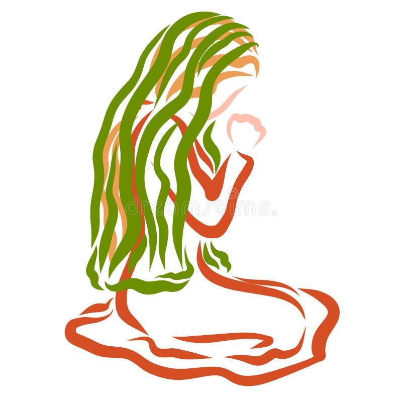 Uma mulher com um lenço em sua cabeça reza ao deus, ajoelhando-se imagem de stock
