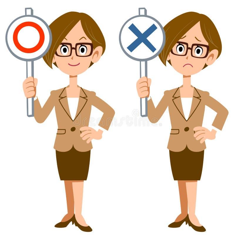 Uma mulher de negócio mostra respostas de correto e de incorreto ilustração stock