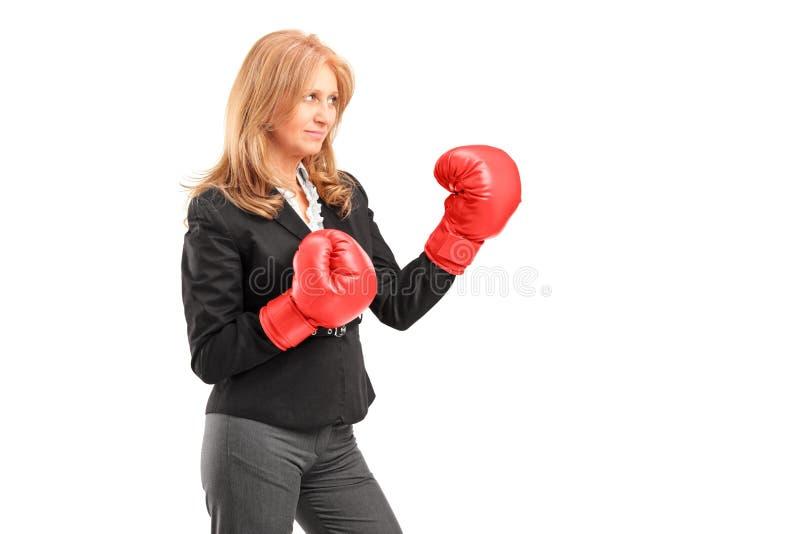 Uma mulher de negócios madura com as luvas de encaixotamento vermelhas prontas para lutar fotos de stock royalty free