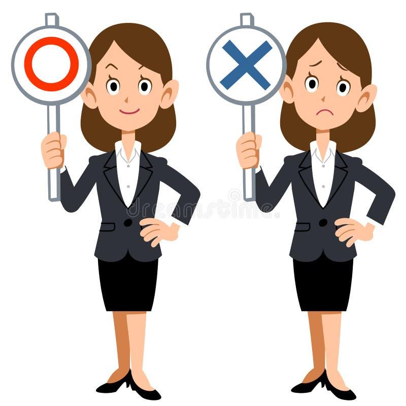 Uma mulher de negócios mostra respostas de correto e de incorreto ilustração stock