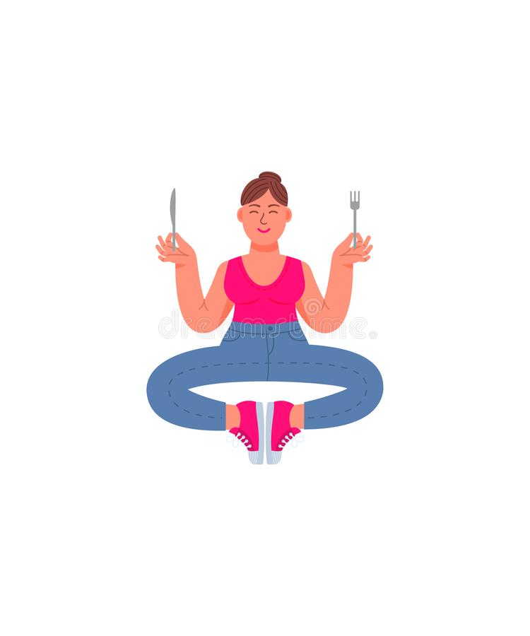 Uma mulher do mais-tamanho senta-se em uma posição da meditação com uma forquilha e uma faca em suas mãos Mulher gorda nas calças ilustração royalty free
