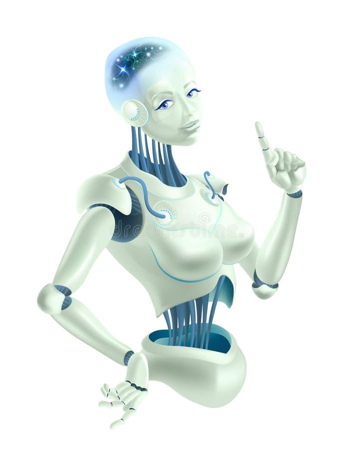 Uma mulher do robô que mantém um indicador foto de stock