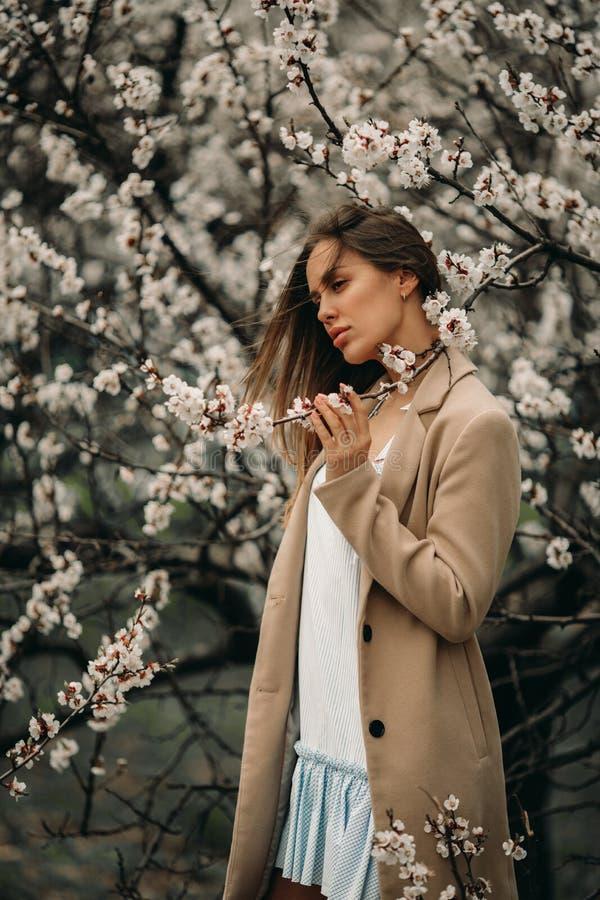 Uma mulher feliz nova tem apreciar entre o jardim de florescência foto de stock