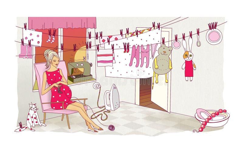 Uma mulher gravida é contratada nas últimas preparações antes do nascimento de uma criança Lavanderia e limpeza Caos e destruição ilustração royalty free