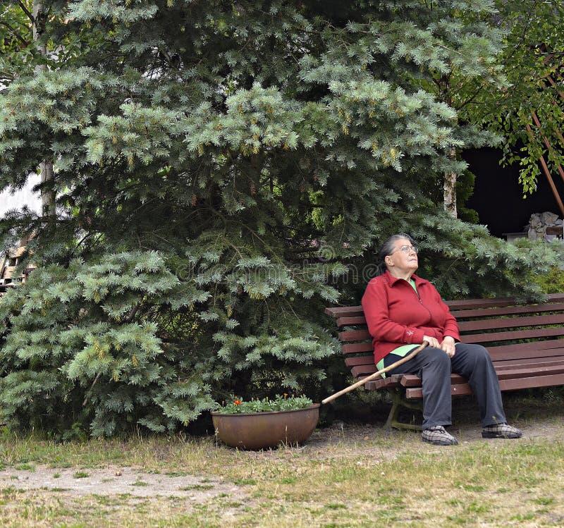 Uma mulher idosa no jardim fotografia de stock