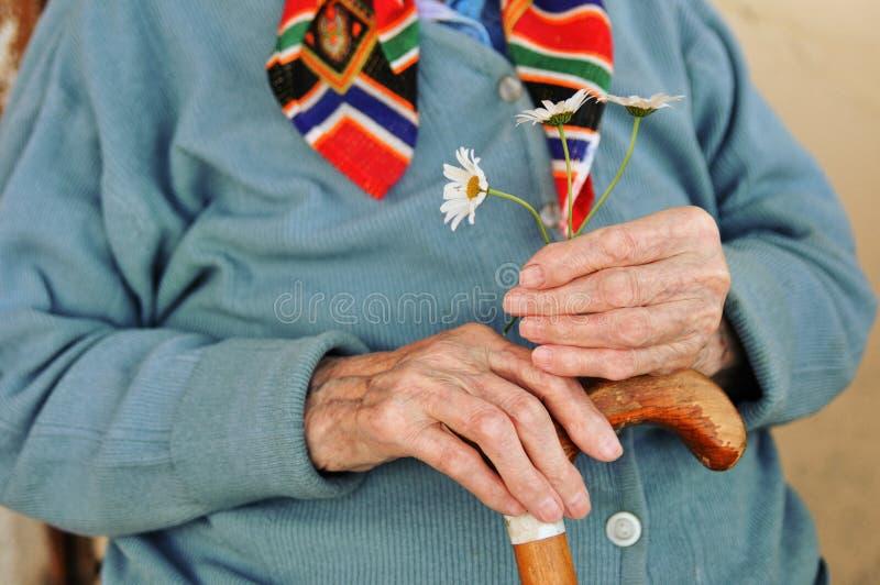 Uma mulher idosa que guarda flores e um bastão de madeira na rua fotografia de stock