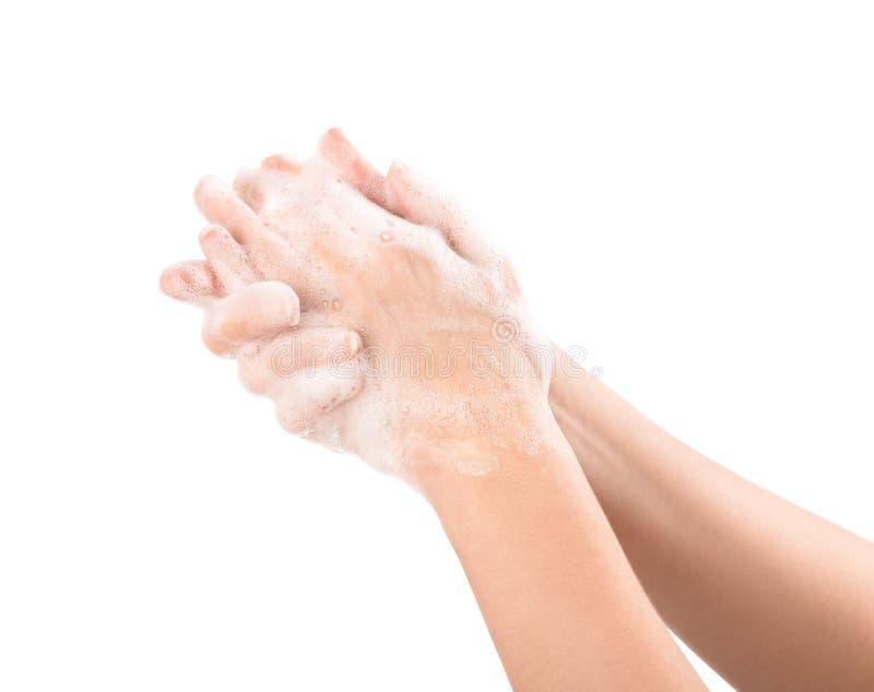 Mãos de Womanâs nos soapsuds foto de stock royalty free