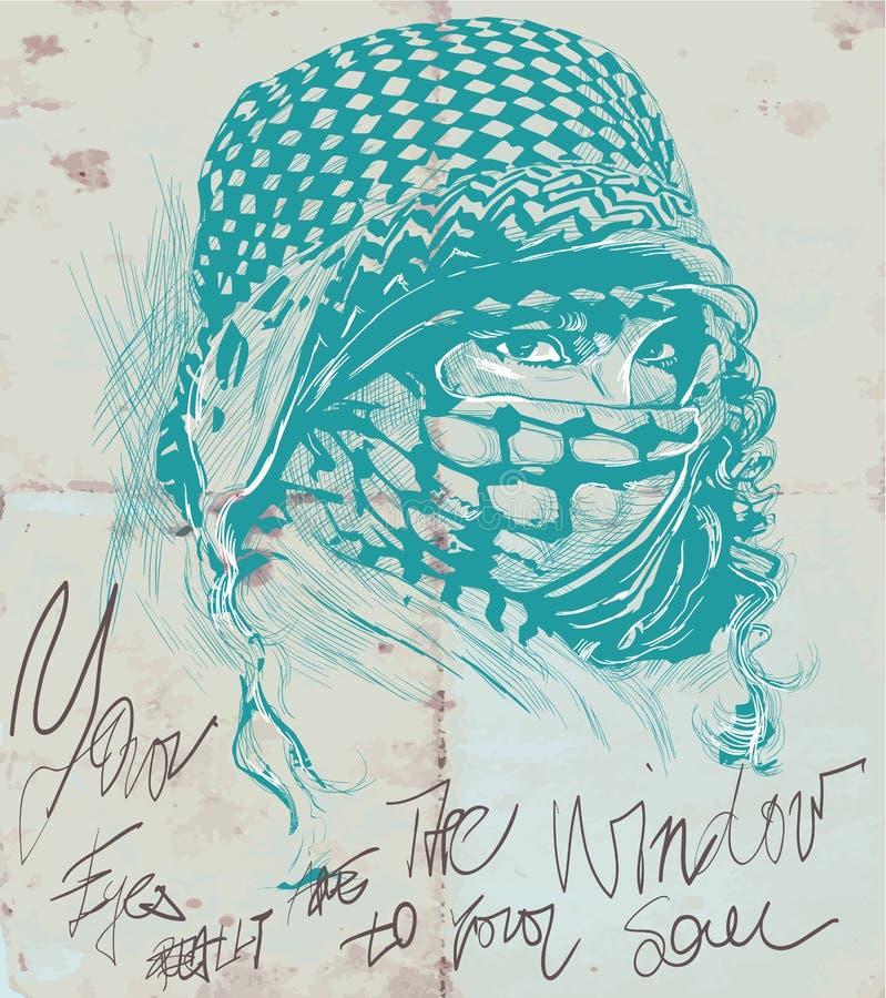Uma mulher muçulmana com os olhos grandes, vestindo um niqab, retrato Mão d ilustração do vetor