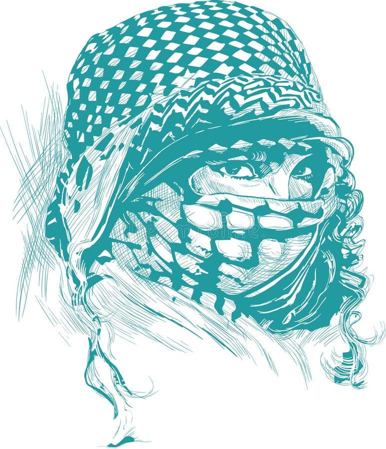 Uma mulher muçulmana com os olhos grandes, vestindo um niqab, retrato Mão d ilustração royalty free
