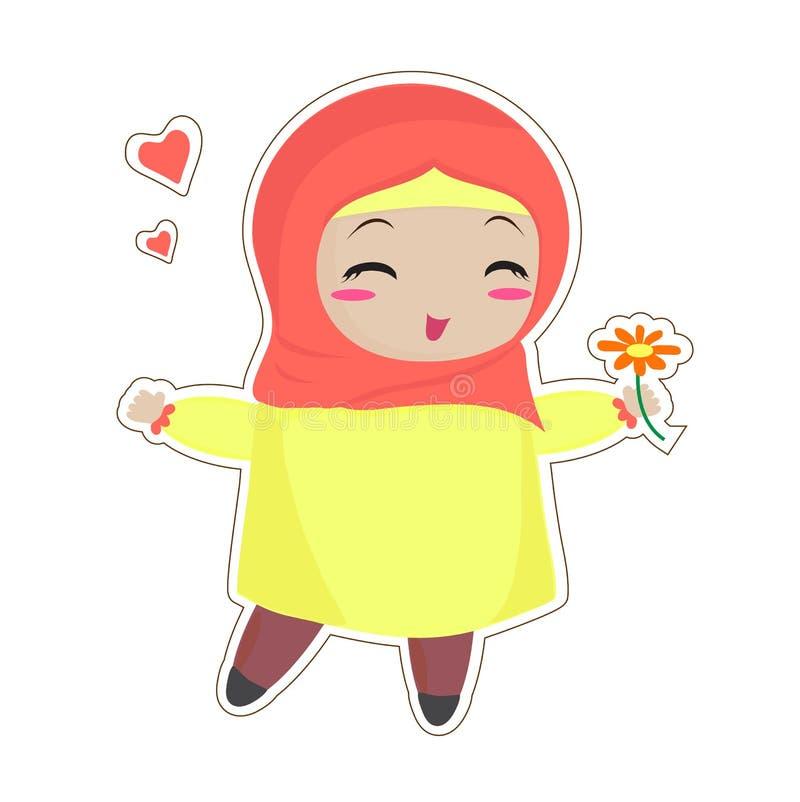 Uma mulher muçulmana pequena com uma flor ilustração royalty free