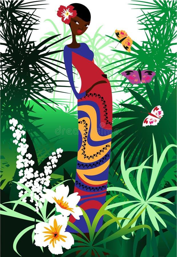 Uma mulher nova cercada por flores ilustração stock