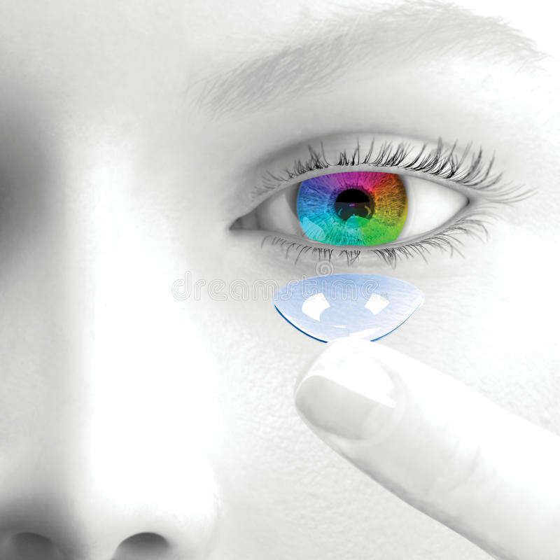 Uma mulher põe lentes de contato 3d rendem ilustração stock