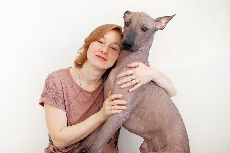 Uma mulher que abraça com um cão calvo mexicano foto de stock