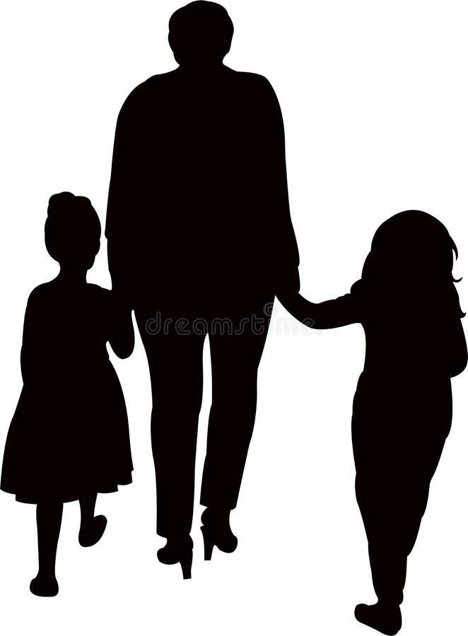 Uma mulher que anda afastado, com suas duas filhas, vetor da silhueta ilustração stock