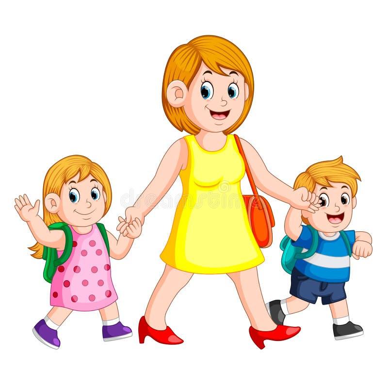 Uma mulher que guarda suas mãos das crianças para acompanha-as à escola ilustração royalty free