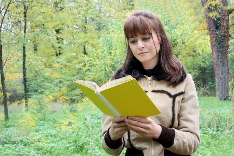 Uma mulher que lê um livro no parque imagem de stock royalty free