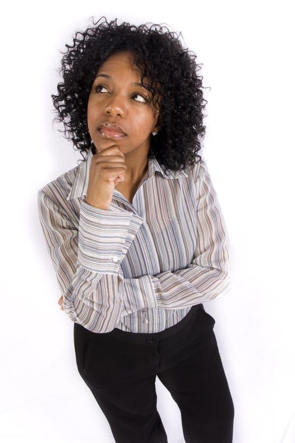 Uma mulher que pondering foto de stock royalty free