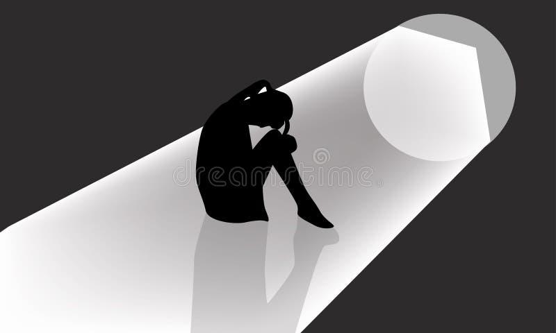 Uma mulher sente triste e só ilustração do vetor