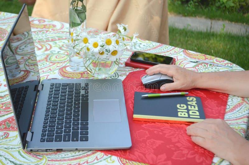 Uma mulher superior é trabalho autônomo em um portátil em um jardim do verão fotografia de stock
