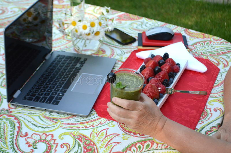 Uma mulher superior está comendo bagas frescas e o trabalho autônomo em um portátil em um jardim do verão fotografia de stock