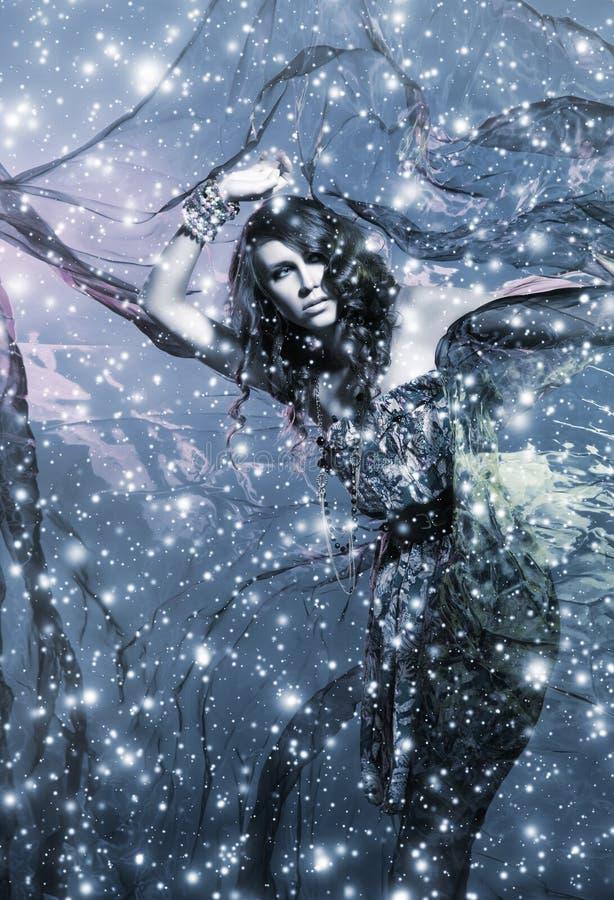 Uma mulher triguenha nova em um fundo de seda nevado fotografia de stock