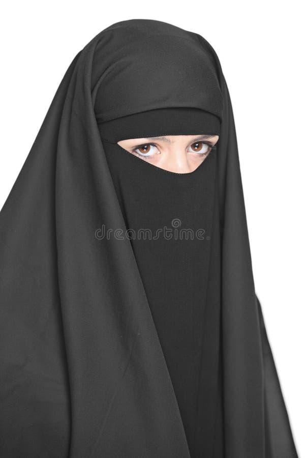 Uma mulher vendada foto de stock