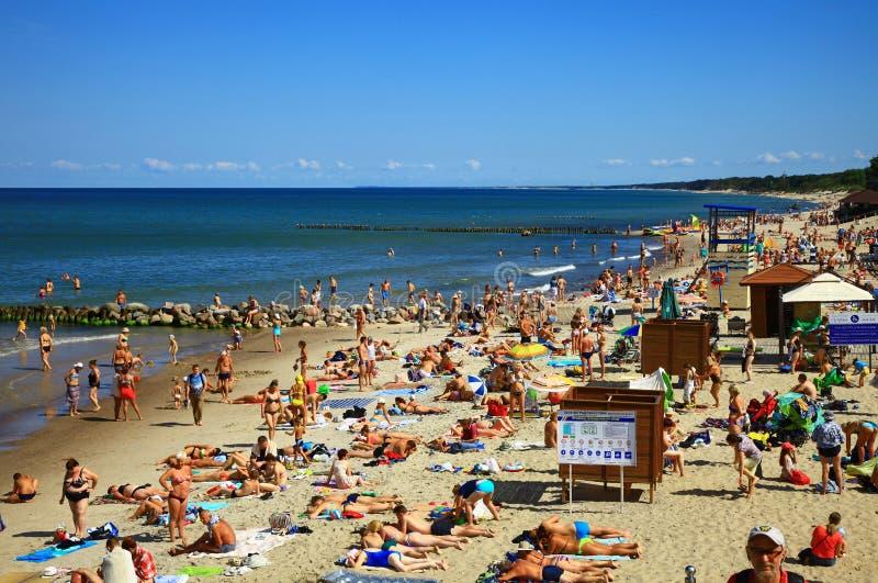 Uma multidão de banhistas na praia situada na costa de mar Báltico, Rússia de Zelenogradsk fotografia de stock