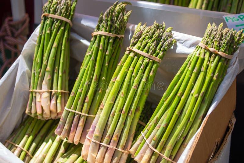 Uma multidão de pacotes verdes crus cultivados do aspargo imagens de stock royalty free