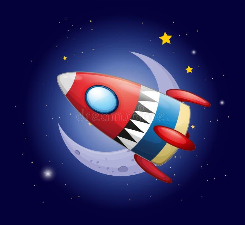 Uma nave espacial perto da lua ilustração royalty free