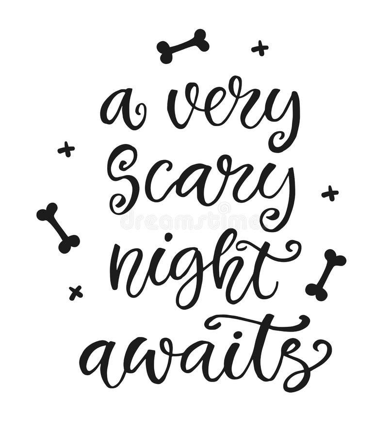 Uma noite muito assustador espera Cartaz do partido de Dia das Bruxas ilustração stock