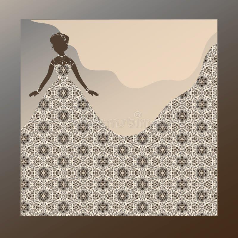Uma noiva bonita em um vestido refinado do laço, com um fundo ilustração stock