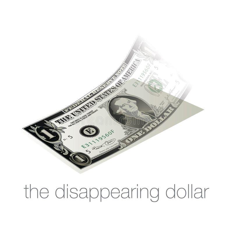Uma nota de dólar desaparece em nossa economia inflada, fraca ilustração royalty free