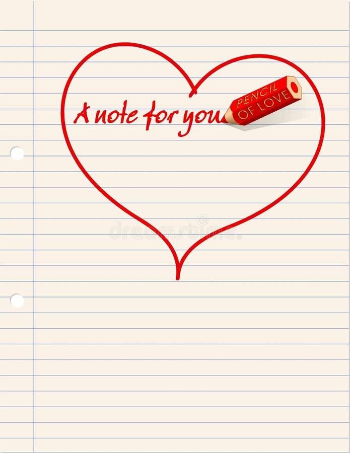 Uma nota do amor? ilustração stock