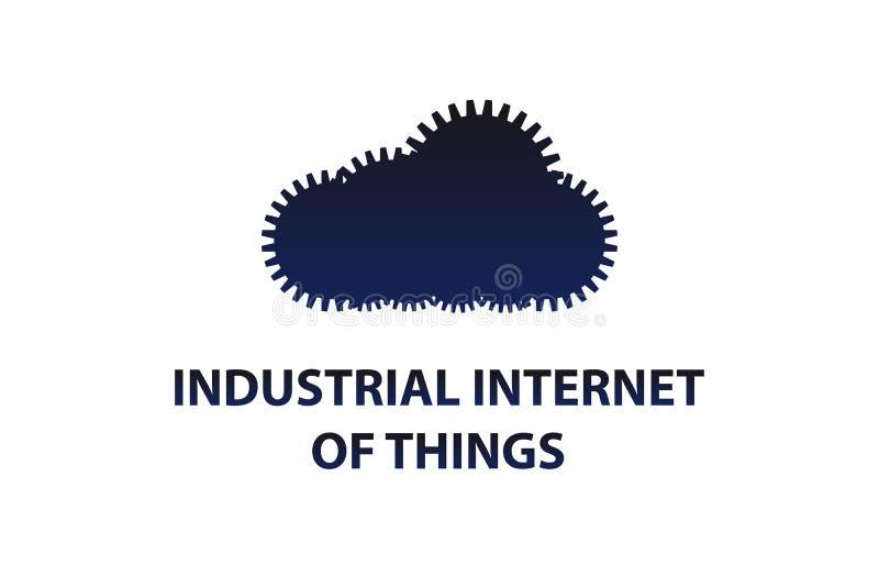 Uma nuvem das engrenagens Símbolo do Internet industrial das coisas ilustração royalty free