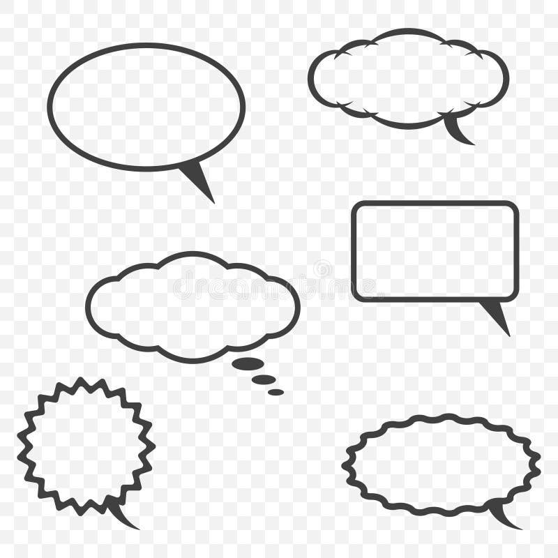 Uma nuvem para uma comunicação em vários formulários em um fundo transparente com a capacidade para editar o esboço e a mensagem ilustração stock