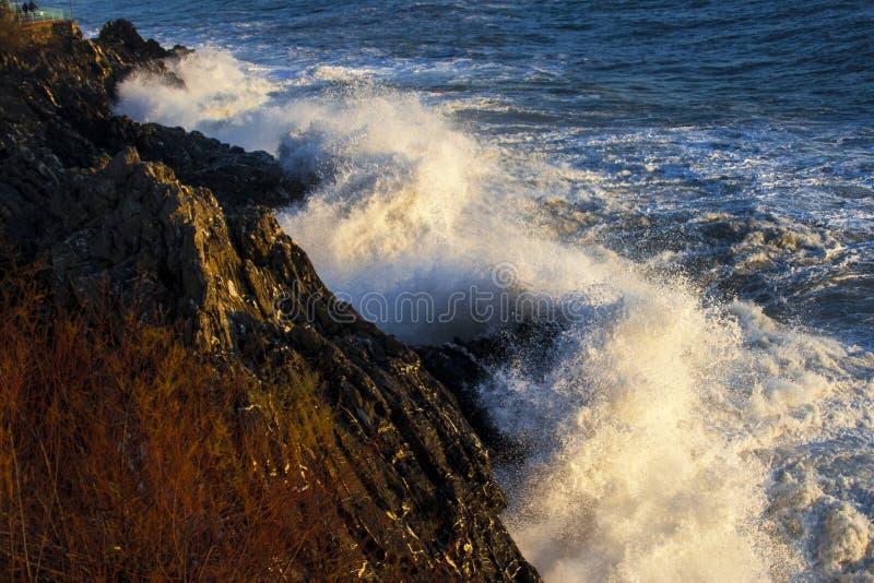 Uma onda quebra nas rochas no por do sol foto de stock