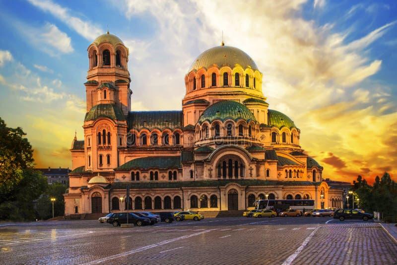 Uma opinião Alexander Nevsky Cathedral em Sófia, Bulgária foto de stock