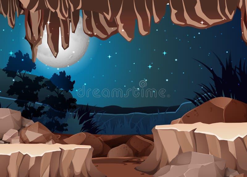 Uma opinião da paisagem da entrada da caverna ilustração do vetor