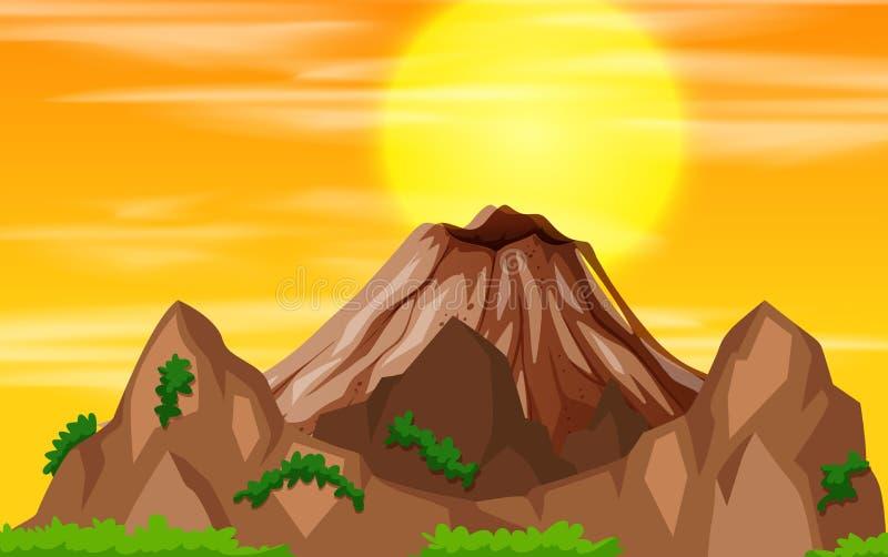 Uma opinião do por do sol da montanha ilustração royalty free