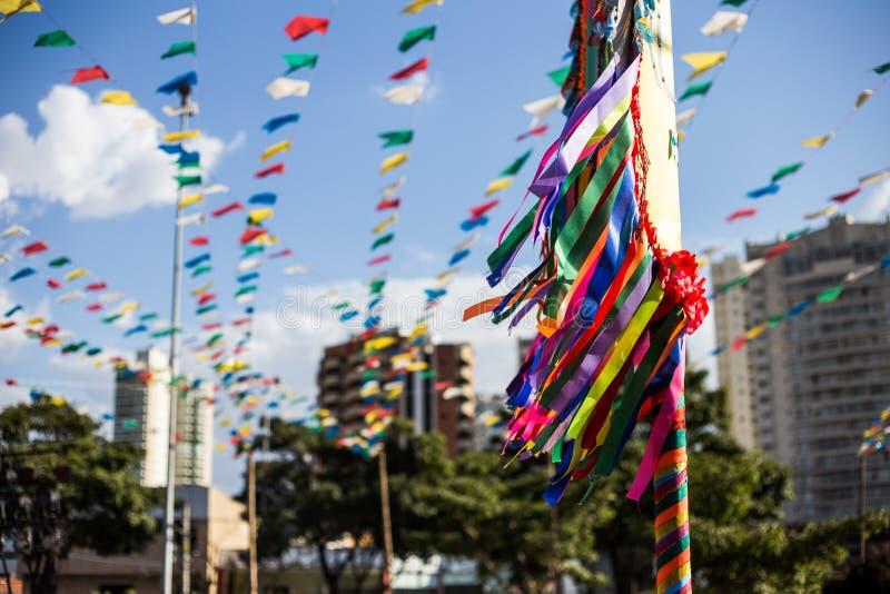 Uma opinião do tradicional do junina do festa do festival do junina imagem de stock