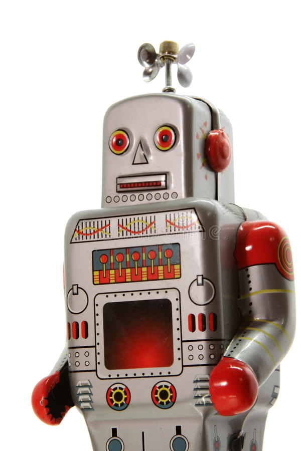 Uma opinião mecanical velha do frontal do robô imagem de stock