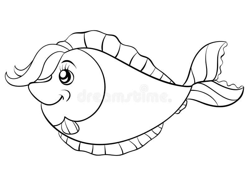 Uma página da coloração, registra uma imagem dos peixes dos desenhos animados para crianças Linha Art Style Illustration ilustração stock