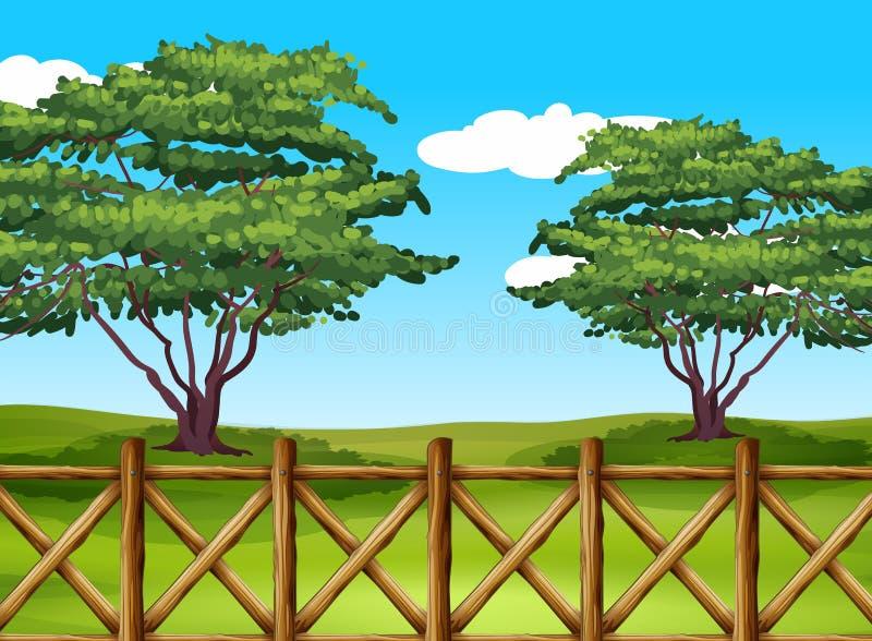 Uma paisagem bonita com uma cerca ilustração stock