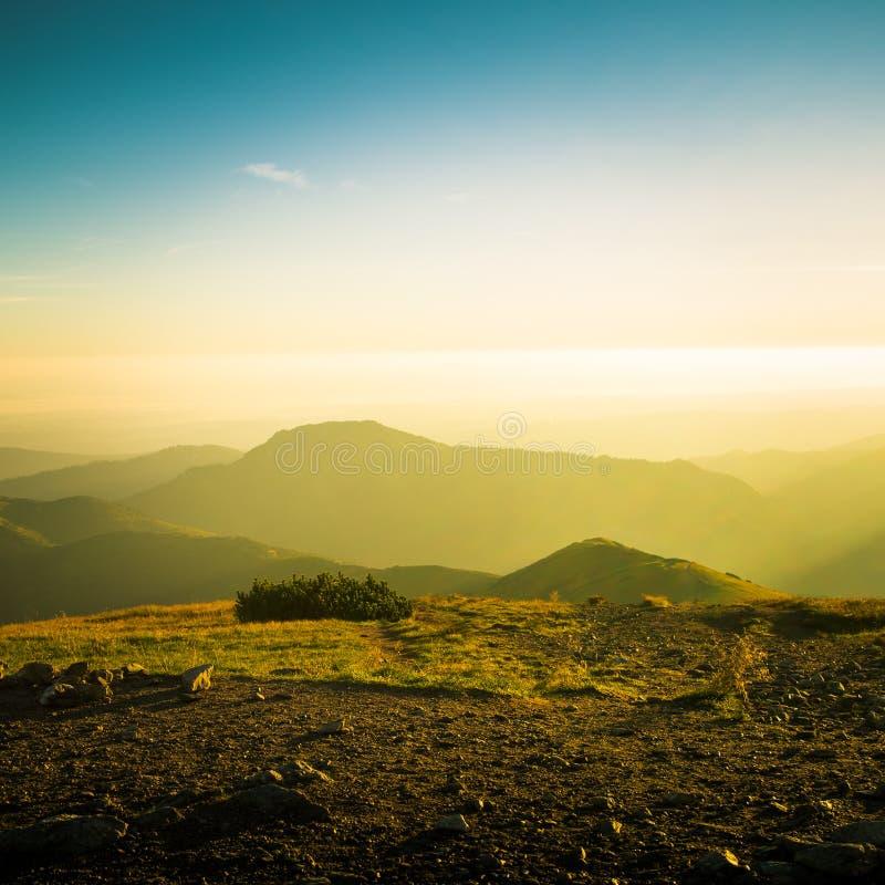 Uma paisagem bonita da montanha acima da linha de árvore imagens de stock