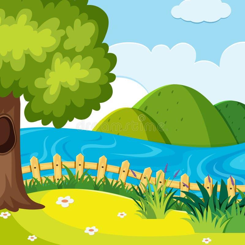 Uma paisagem do monte da natureza ilustração stock